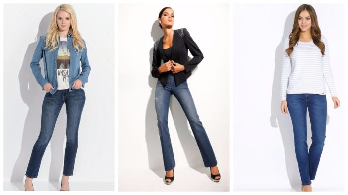 модные классические джинсы 2019-2020: синие потертые