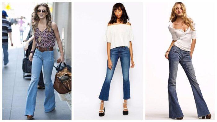модные джинсы клеш длинные и укороченные 2019-2020