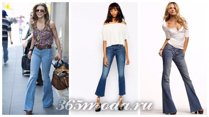 модные джинсы клеш длинные и укороченные 2018-2019