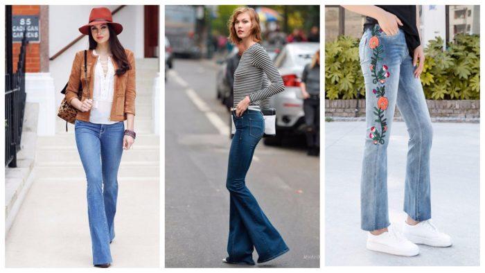 модные расклешенные джинсы синие и с принтом 2019-2020
