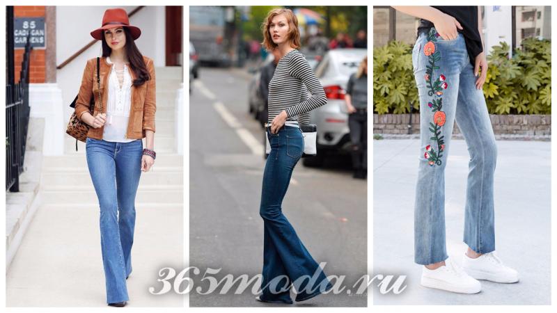 модные расклешенные джинсы синие и с принтом 2018-2019