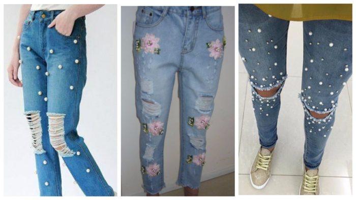 модный декор джинсов 2019-2020: пуговицы и цветы