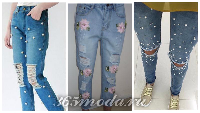 модный декор джинсов 2018-2019: пуговицы и цветы
