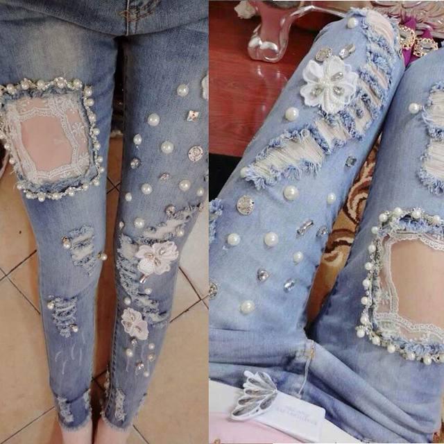 модный декор джинсов с бусинами 2019-2020