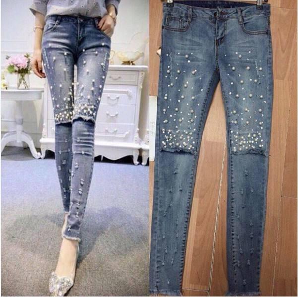 модный декор джинсов с бусинами