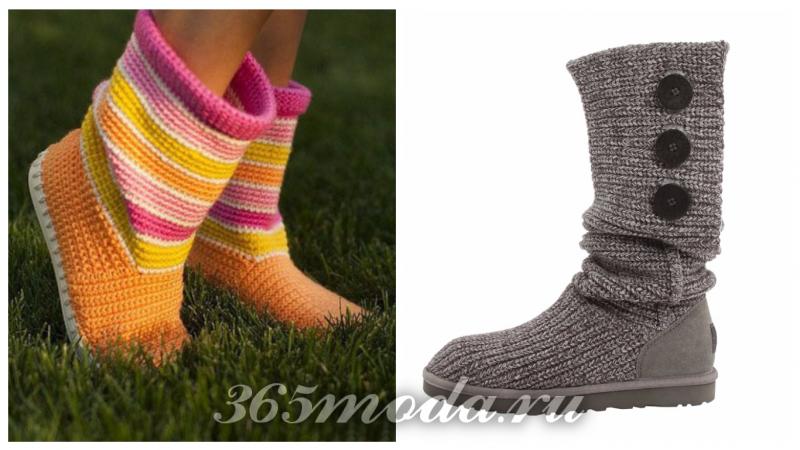 модные угги осень-зима 2019-2020: вязанные