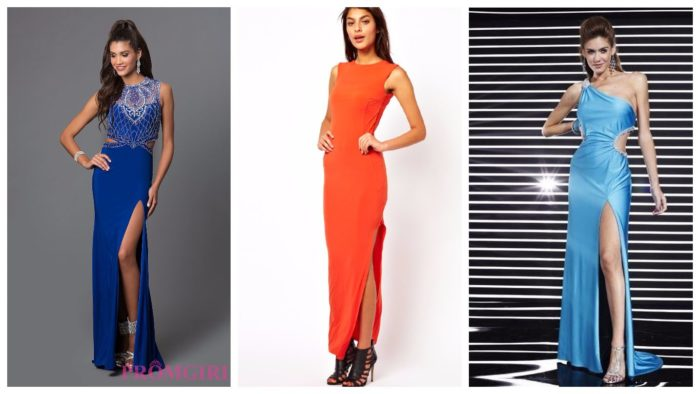 модные платья с разрезом 2019-2020: синее длинное платье, красно длинное платье, голубое длинное платье