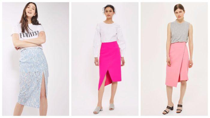 юбки с разрезом спереди на работу 2019-2020: небесно голубая, ярко розовая, кремовая