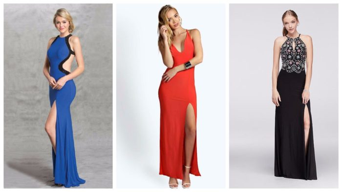 модные платья с разрезом 2019-2020: синее, красное, ажурное черное