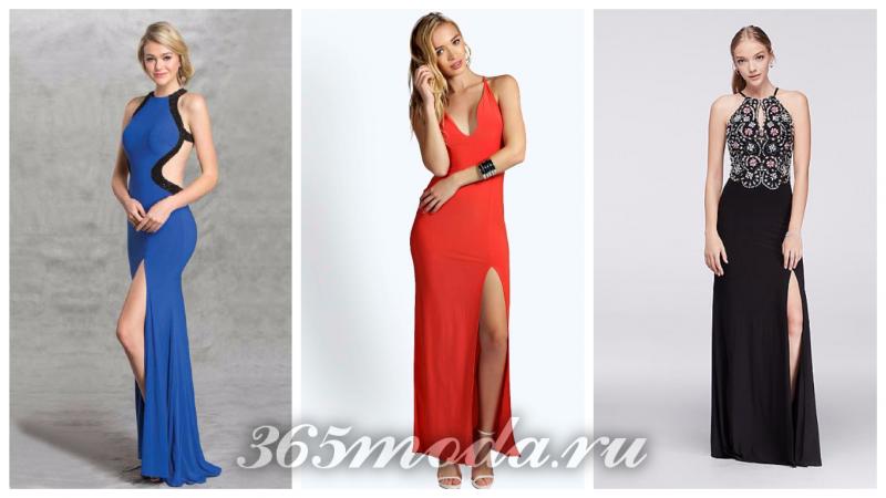 модные платья с разрезом 2018-2019: синее, красное, ажурное черное