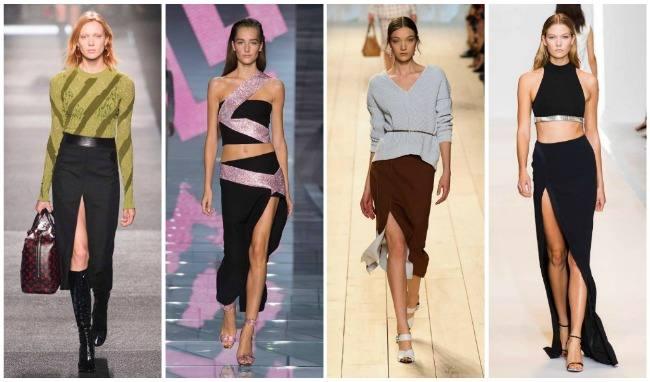 модные длинные юбки с разрезом 2019-2020: черная, коричневая