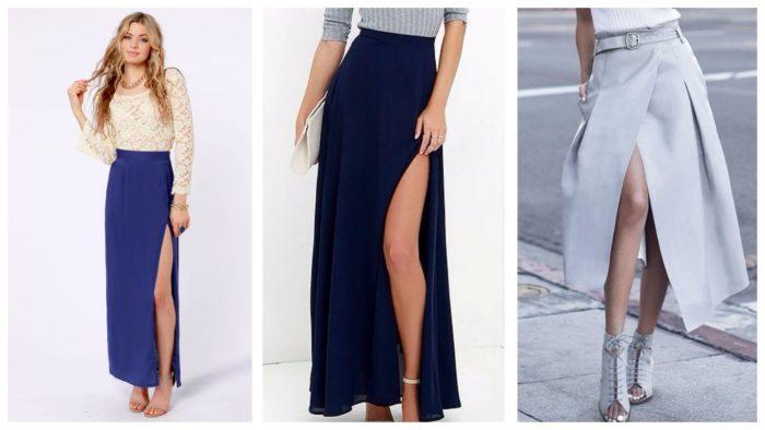 модные юбки с разрезом для вечеринки 2019-2020: синяя, темно-синяя, серая