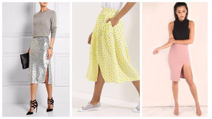 юбки с разрезом 2019-2020 на работу: серебристая, желтая в горошек, розовая