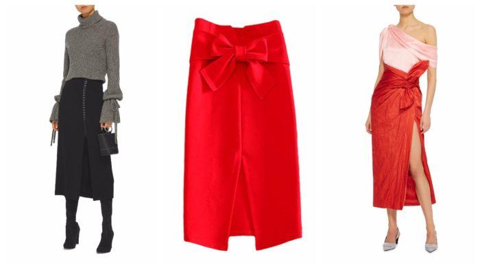 прямая юбка с разрезом 2019-2020: черная и красная