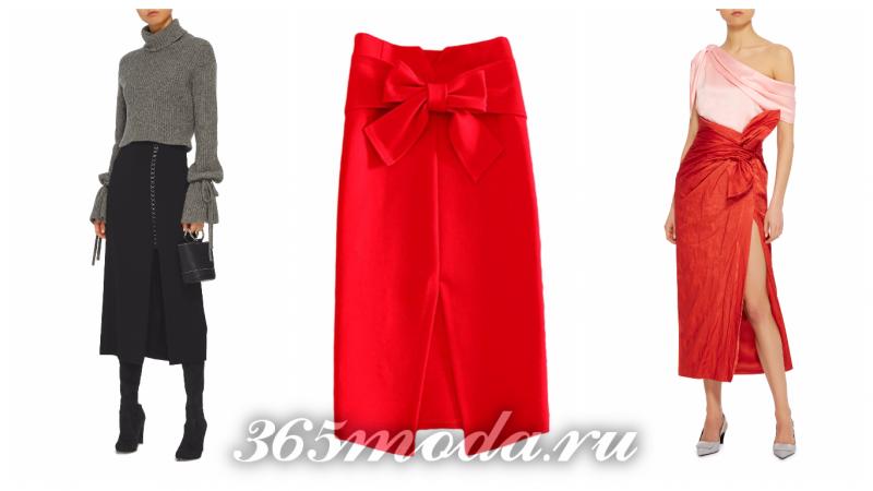 прямая юбка с разрезом 2018-2019: черная и красная