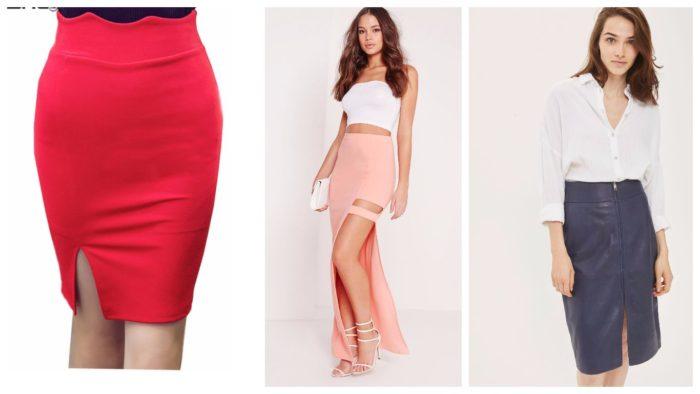 стильные юбки с разрезом 2019-2020: красная, розовая, кожаная синяя
