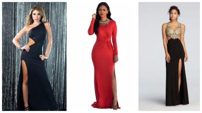 модные платья с разрезом 2019-2020: черное, красное, черное ажурное