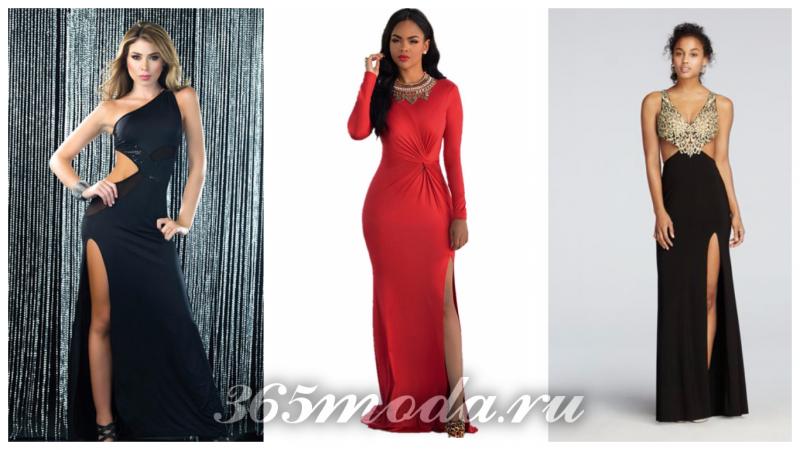 модные платья с разрезом 2018-2019: черное, красное, черное ажурное