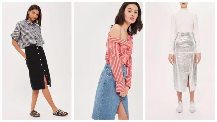 модные юбки с разрезом 2019-2020: черная, голубая, серебристая