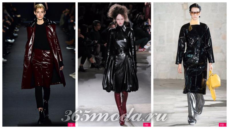 модная одежда из винила: пальто