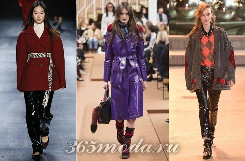 модное пальто из винила: пальто и брюки