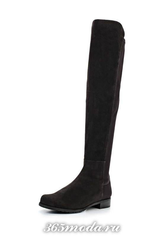 черные ботфорты без каблука