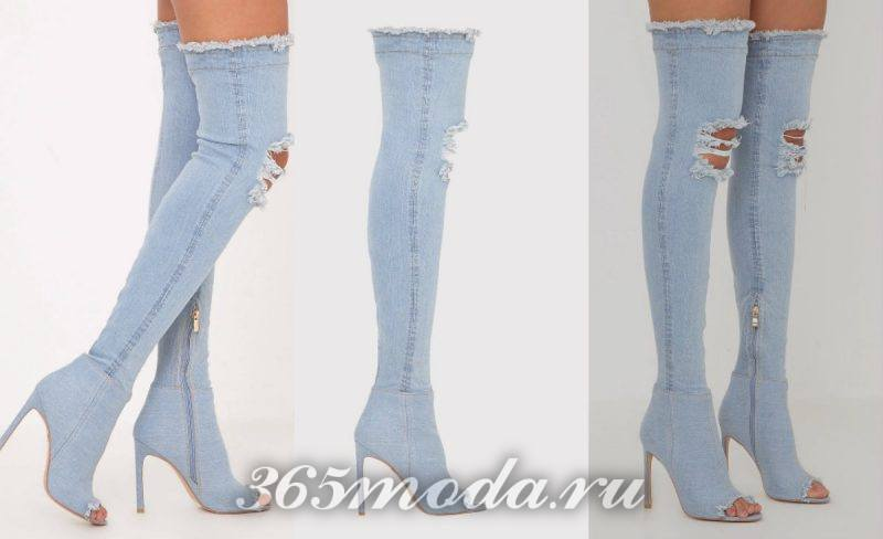 ботфорты из светлого джинса