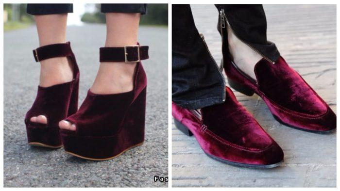 обувь из бархата