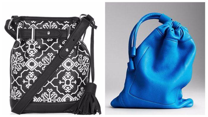 сумки-мешки: черная с принтом, синяя