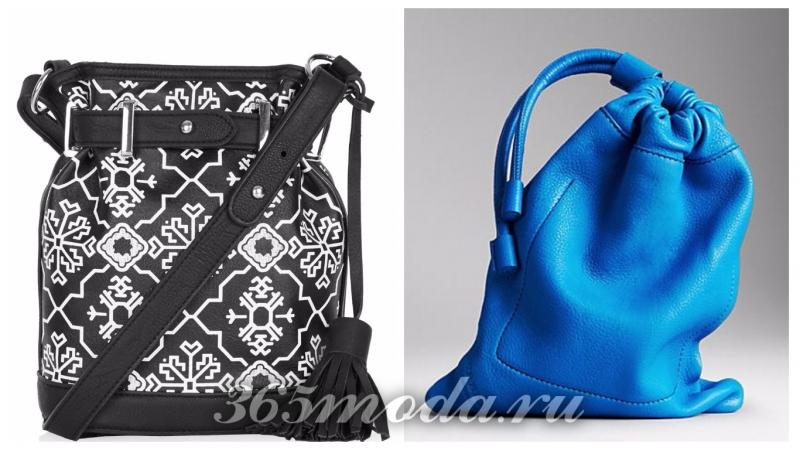 модные сумки-мешки: черная с принтом, синяя