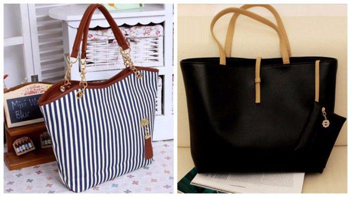 модная сумка шоппер: в полоску, черная