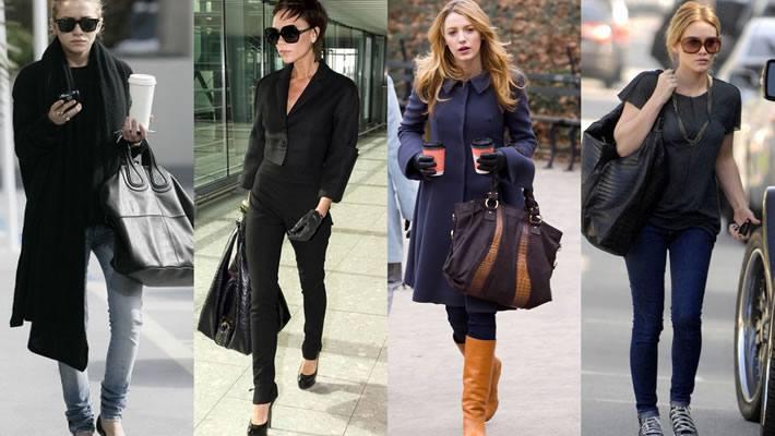 модные большие сумки: черные