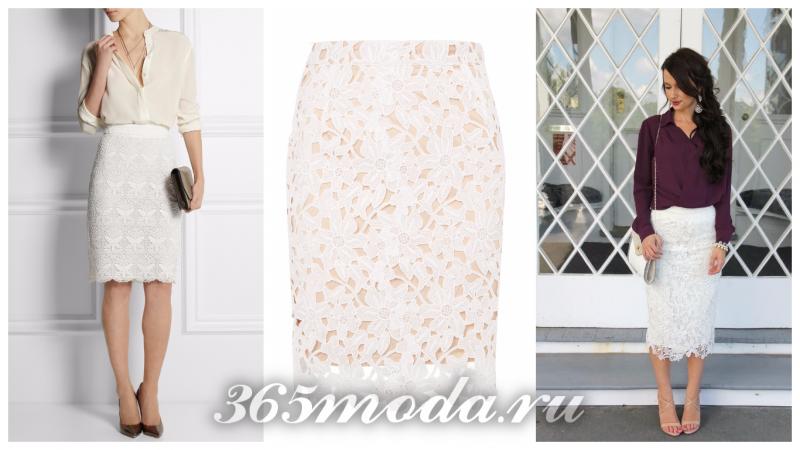 модная юбка-карандаш 2018: белая с узором