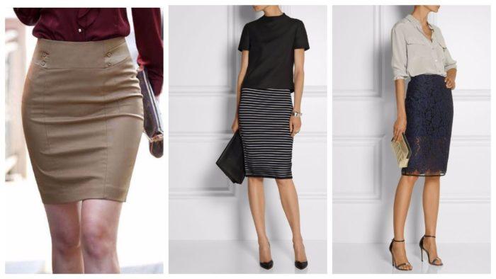 модная юбка-карандаш 2019-2020: оливковая, в полоску, ажурная