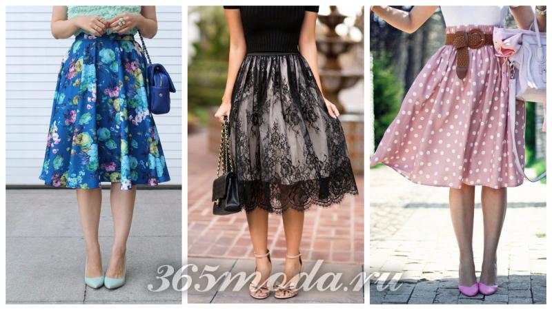 модные юбки сезона 2018: синяя с принтом, розовая в горошек, черная