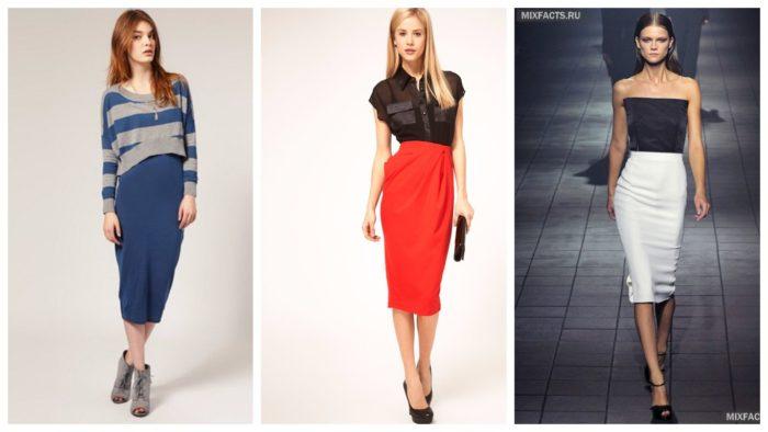 модные юбки 2019-2020 с завышенной талией: синяя, красная, белая