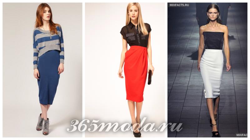 модные юбки 2018 с завышенной талией: синяя, красная, белая