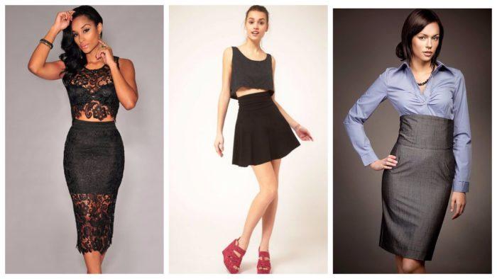 модные юбки с завышенной талией 2019-2020: черная и серая