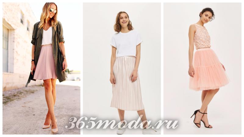 модные плиссированные юбки 2018: розовые