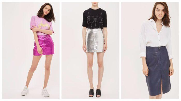 модные юбки 2019-2020: фиолетовая серебро темно-синяя
