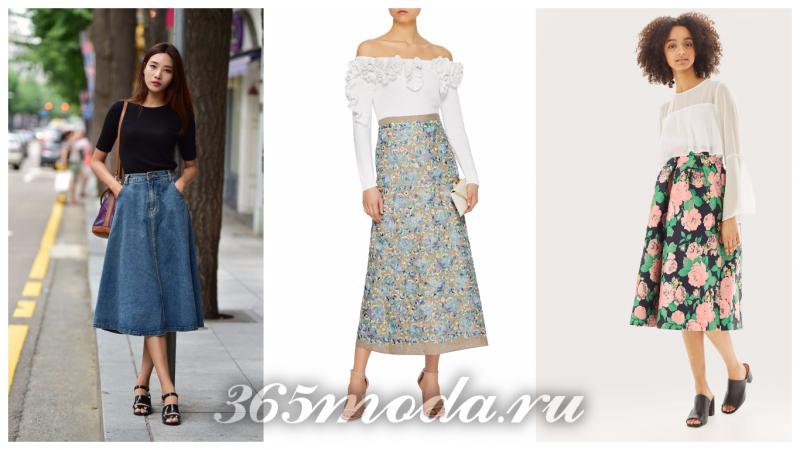 модные цвета юбок 2018: джинсовая, с принтом