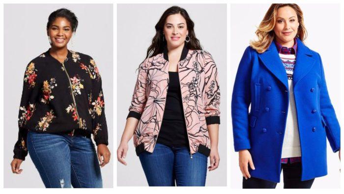 куртки для полных: черная с принтом, розовая с принтом, синяя