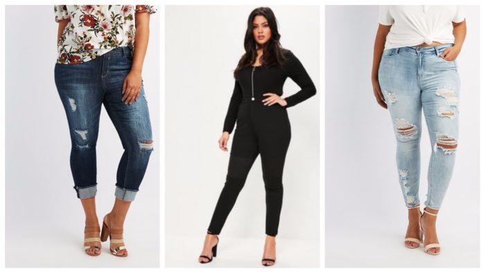повседневная одежда для полных: синие джинсы, черный костюм, голубые джинсы