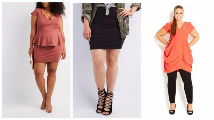 одежда для полных: розовое платье, черная юбка, оранжевое платье