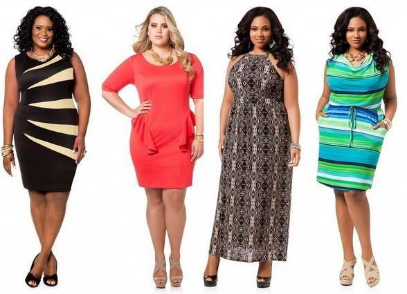 модные платья для полных: в полоску, красное, черное с принтом, цвета морской волны
