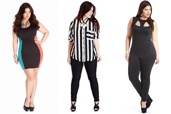 модная одежда для полных: платье, полосатая рубашка, черный костюм