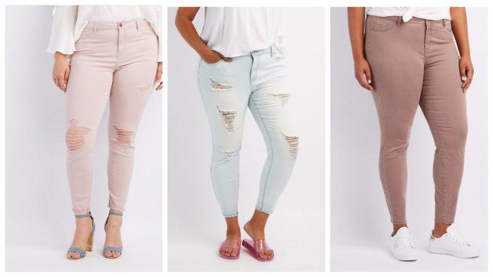 модные рваные джинсы для полных