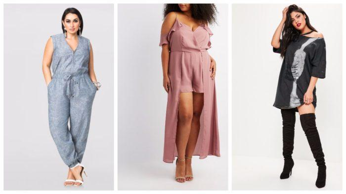 примеры стильной одежды для полных: серый, кремовый и черный цвет