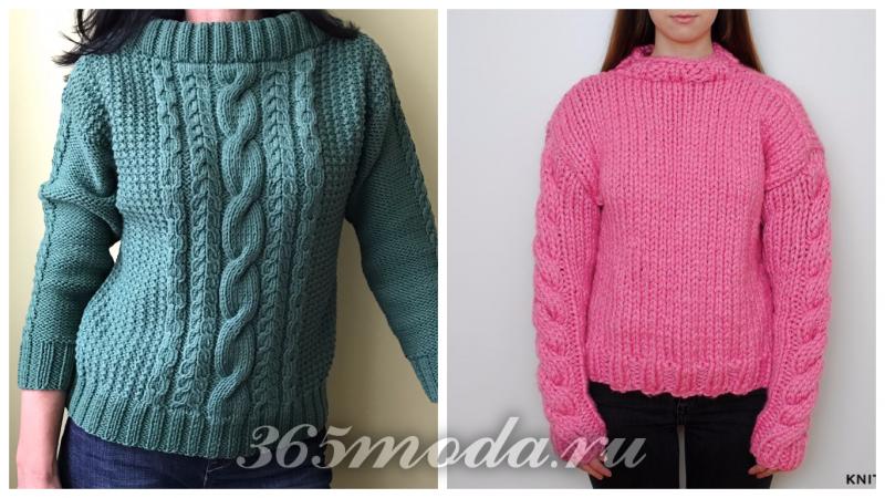 модные свитера крупной вязки: зеленый и розовый