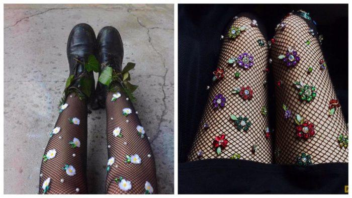 модный декор колготок в сеточку